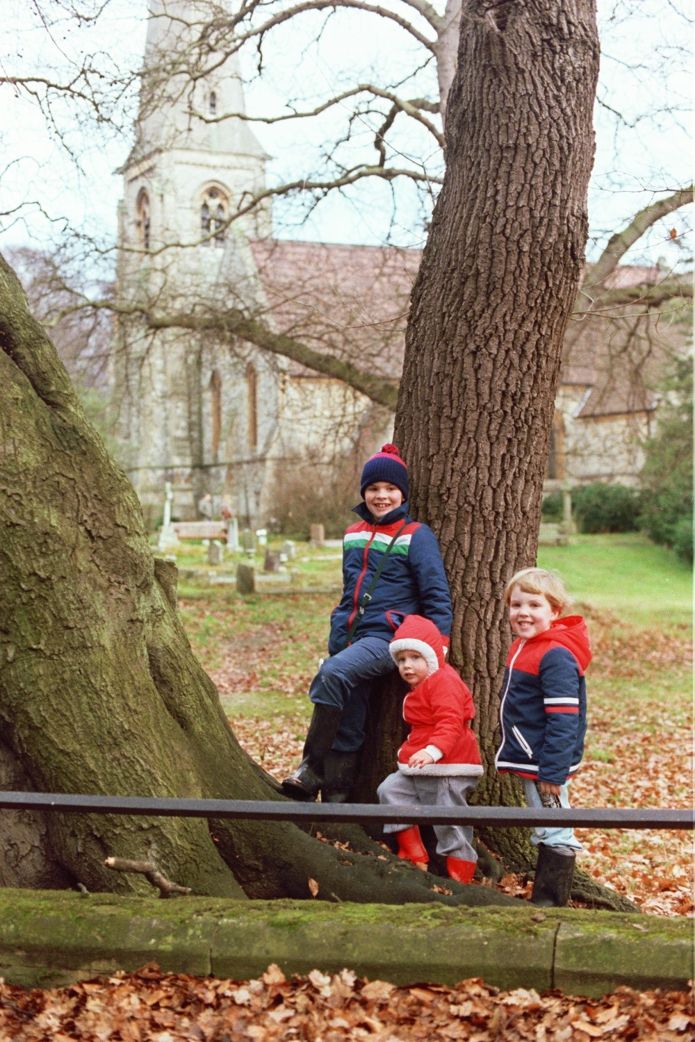 Russel Shearer, Amy Shearer and Matt Shearer, in front of High Beech Church, Essex, UK