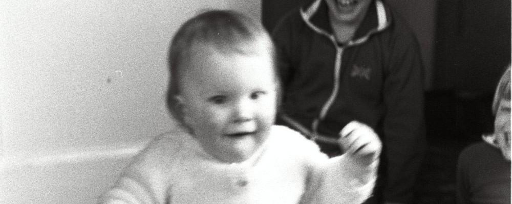 Ed Shearer in a Babygrow