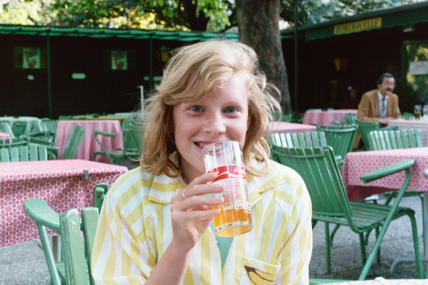 Amy Shearer drinks Almdudler in Vienna, 1987