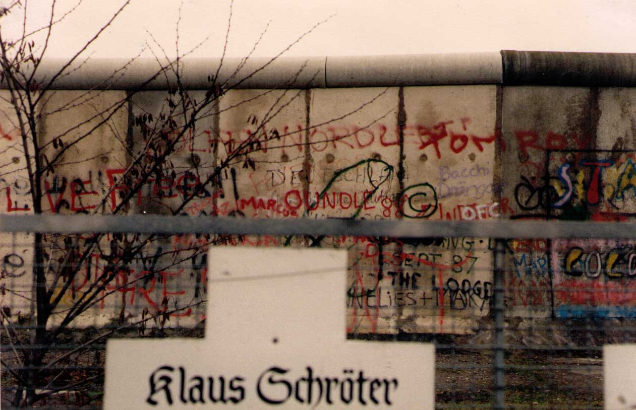 The Berlin Wall in 1989, with some Oundle Graffiti