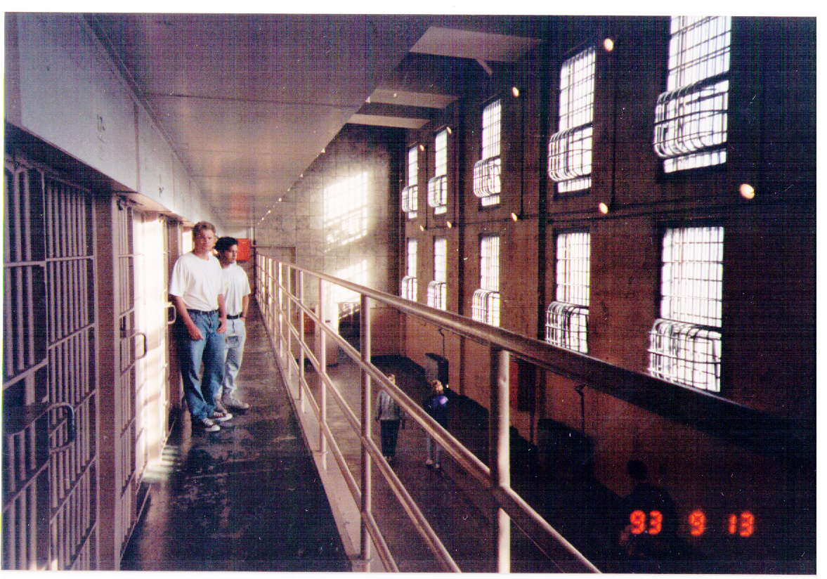 Jim & Ian at Alcatraz - outside the cells