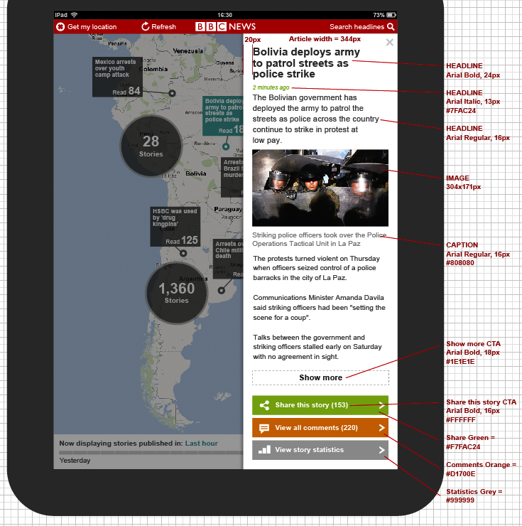 News Articles overlaid on maps, driven by geo location from DBPedia linked data tags
