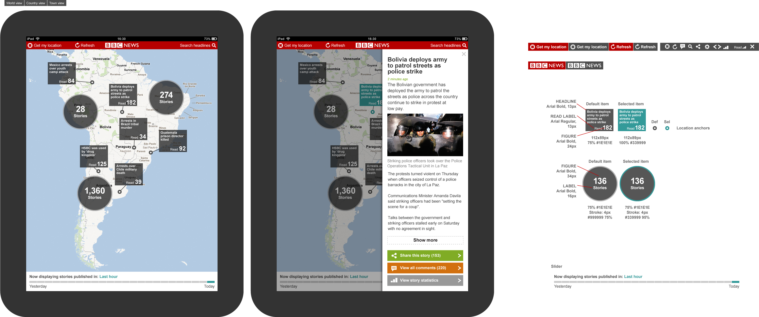 NewsRadar : News Articles overlaid on maps, driven by geo location from DBPedia linked data tags
