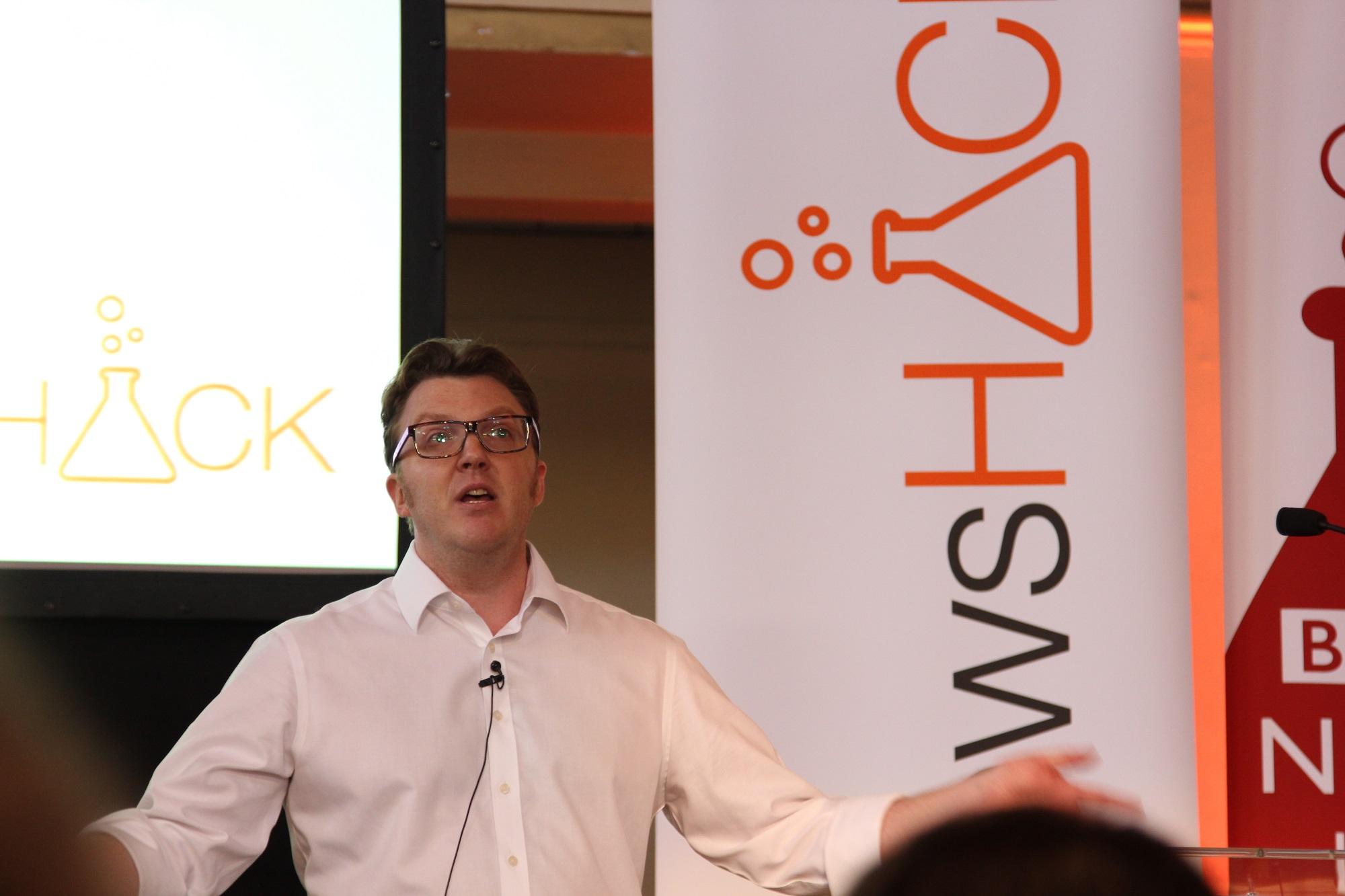 Matt Shearer opens BBC #newsHACK, Shoreditch, 2013