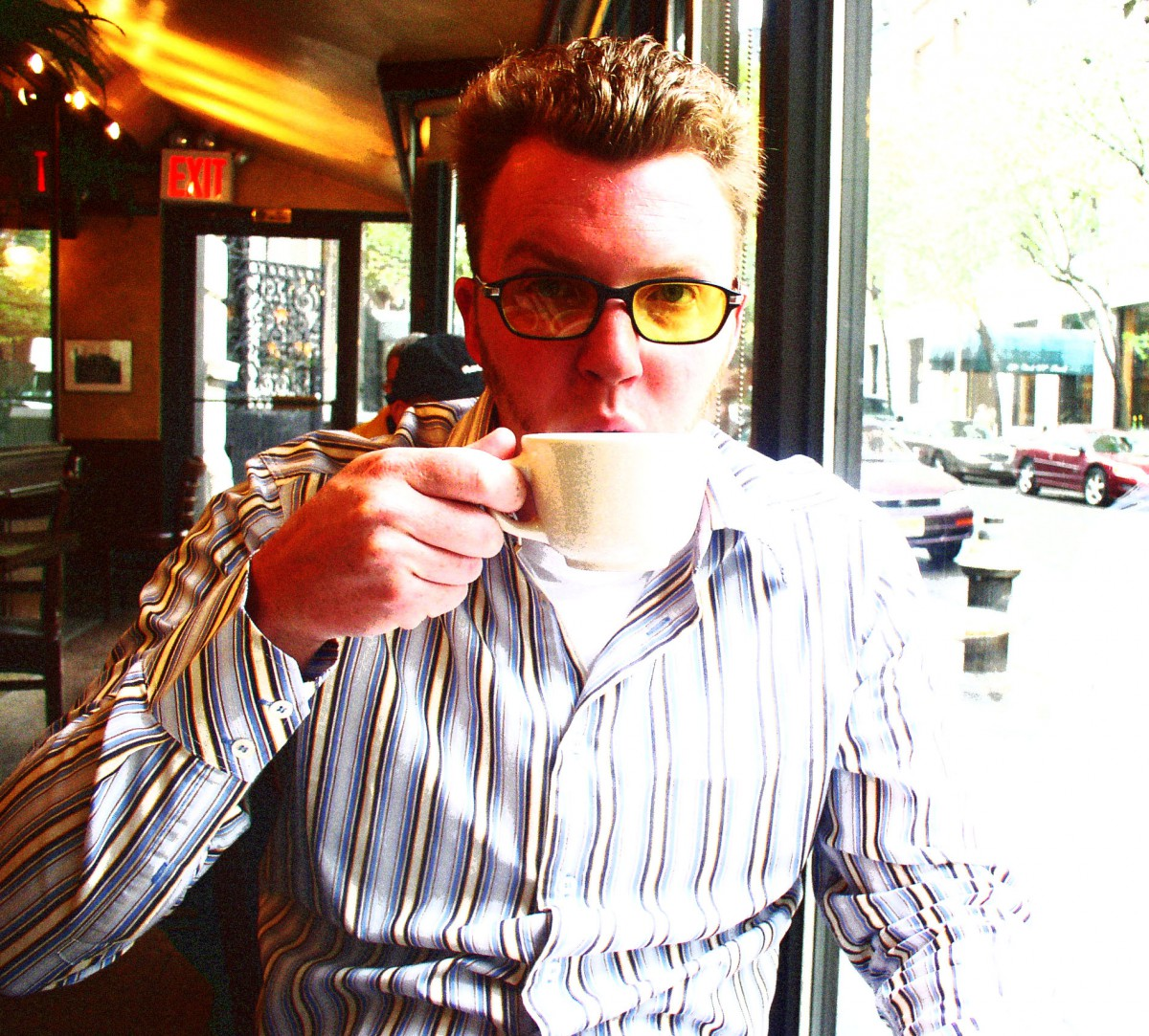 Matt Shearer having a Coffee