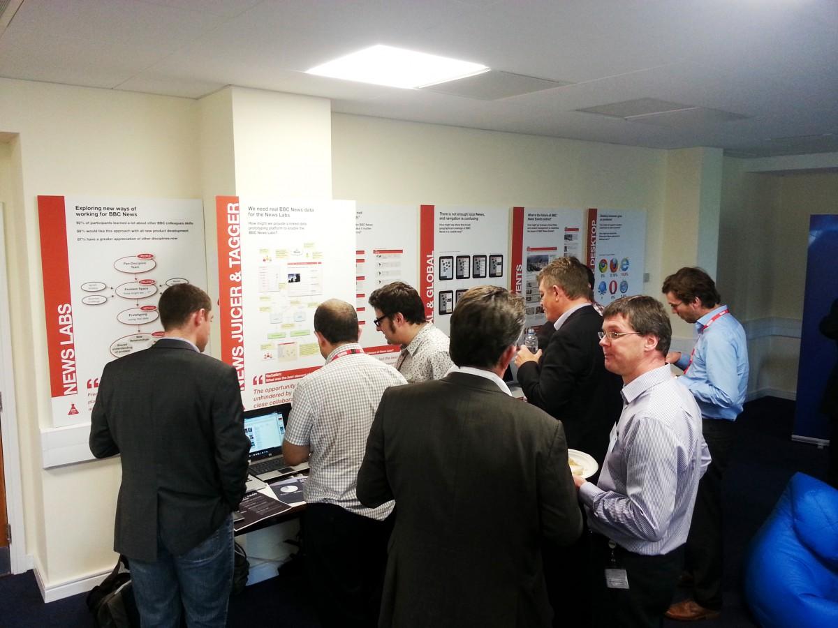 TD&A Folks look through the BBC News Labs demo at BBC Caversham