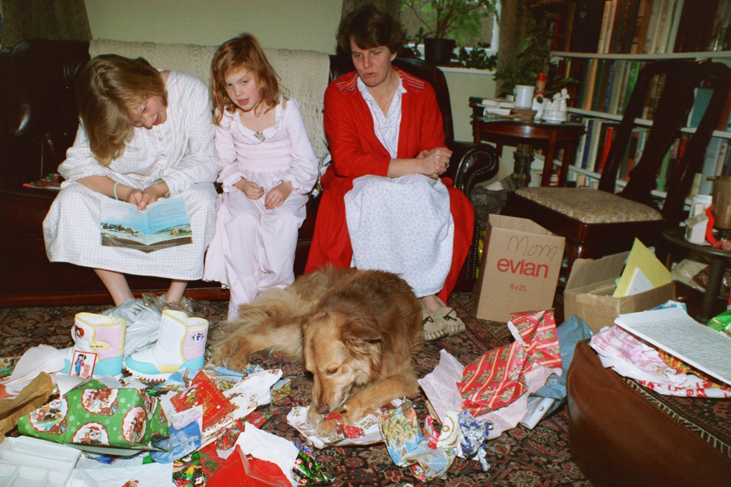 Christmas, unwrapping the presents in the front room. Coal fire was going