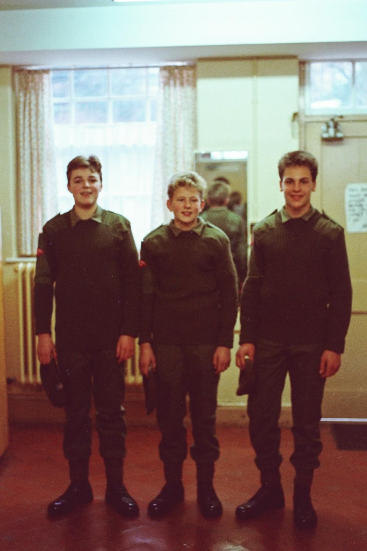 Miles Hunt, Mike Meighan, Jules Cork, in Corps uniforms
