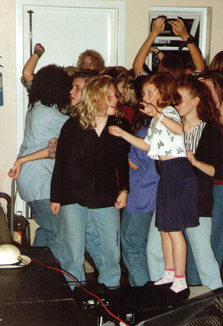 Virginia Shearer and Amy Shearer, plus the crowd, at the Paracetamols gig at Felixstowe