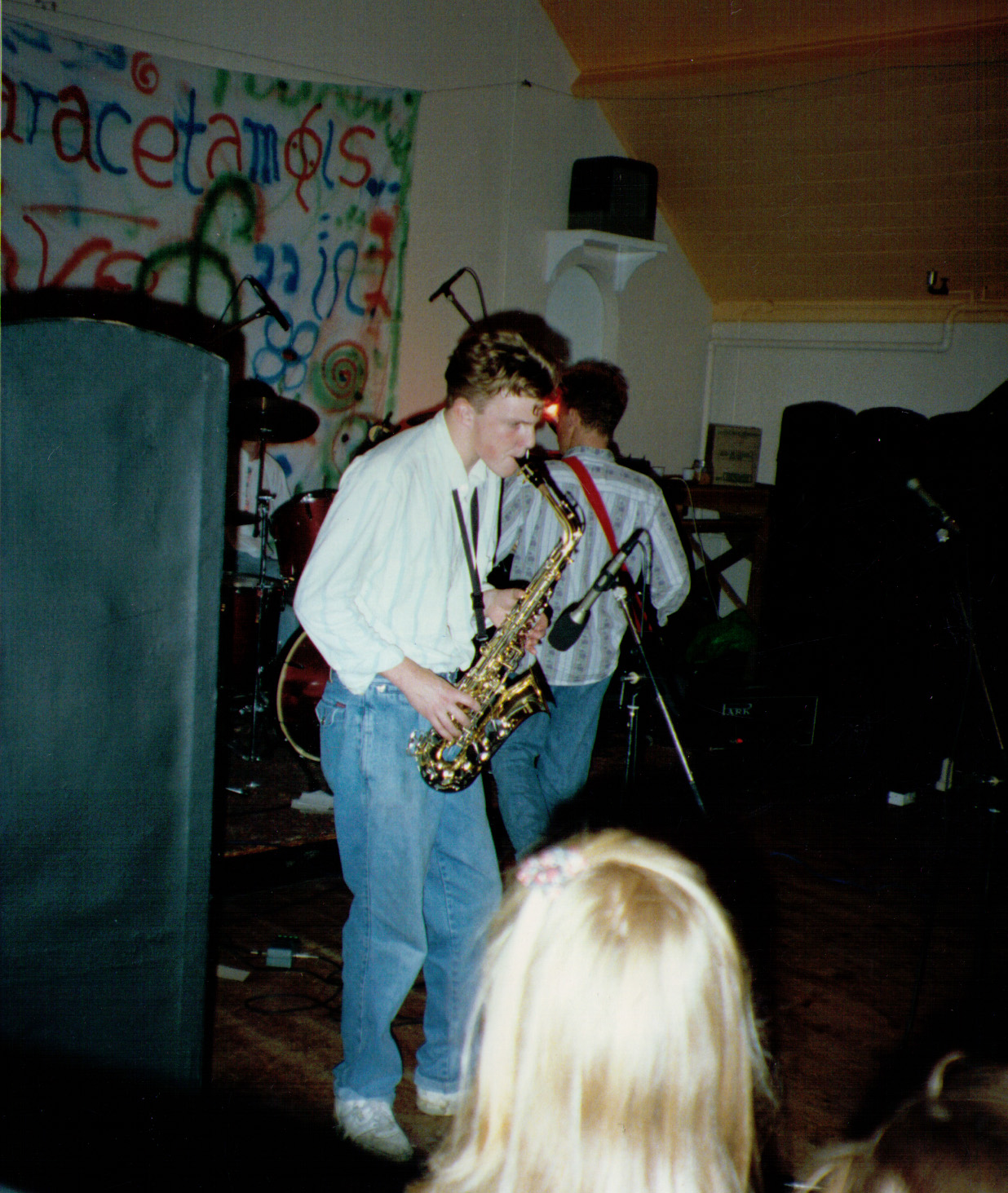 Matt on Sax - no idea why - at the Paracetamols gig at Felixstowe