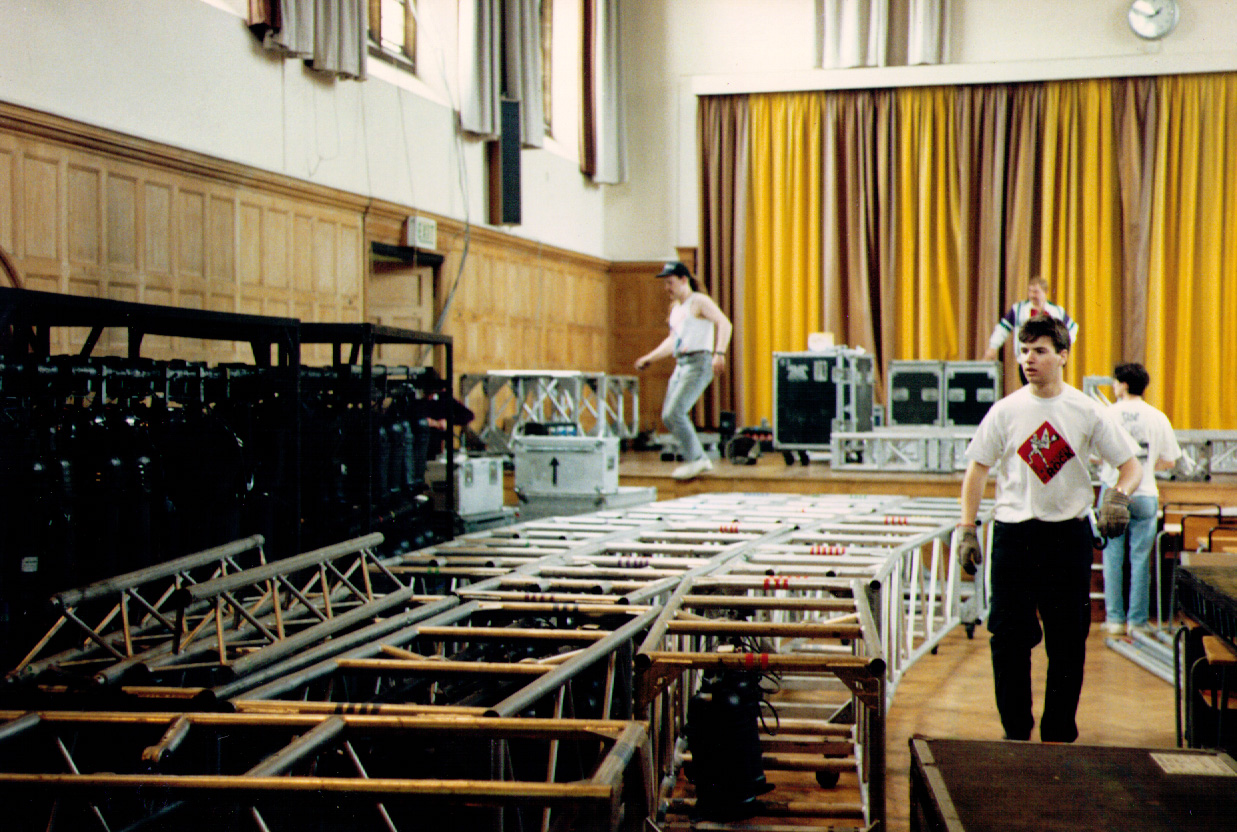 James Shannon - Clom - coordinates the setup of the classic RocSoc Concert