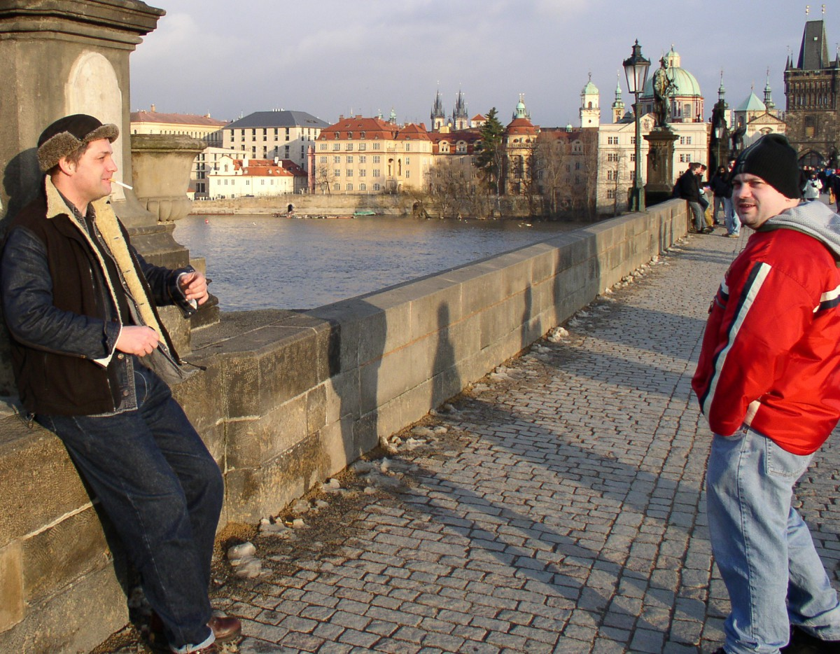 Adam & Ian on the Charles Bridge, Prague