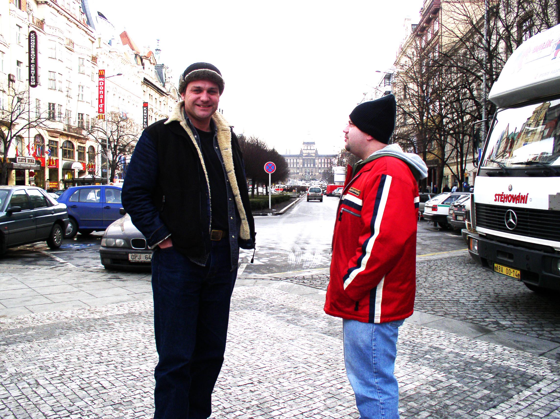 Adam & Ian in Wenceslas Square, Prague
