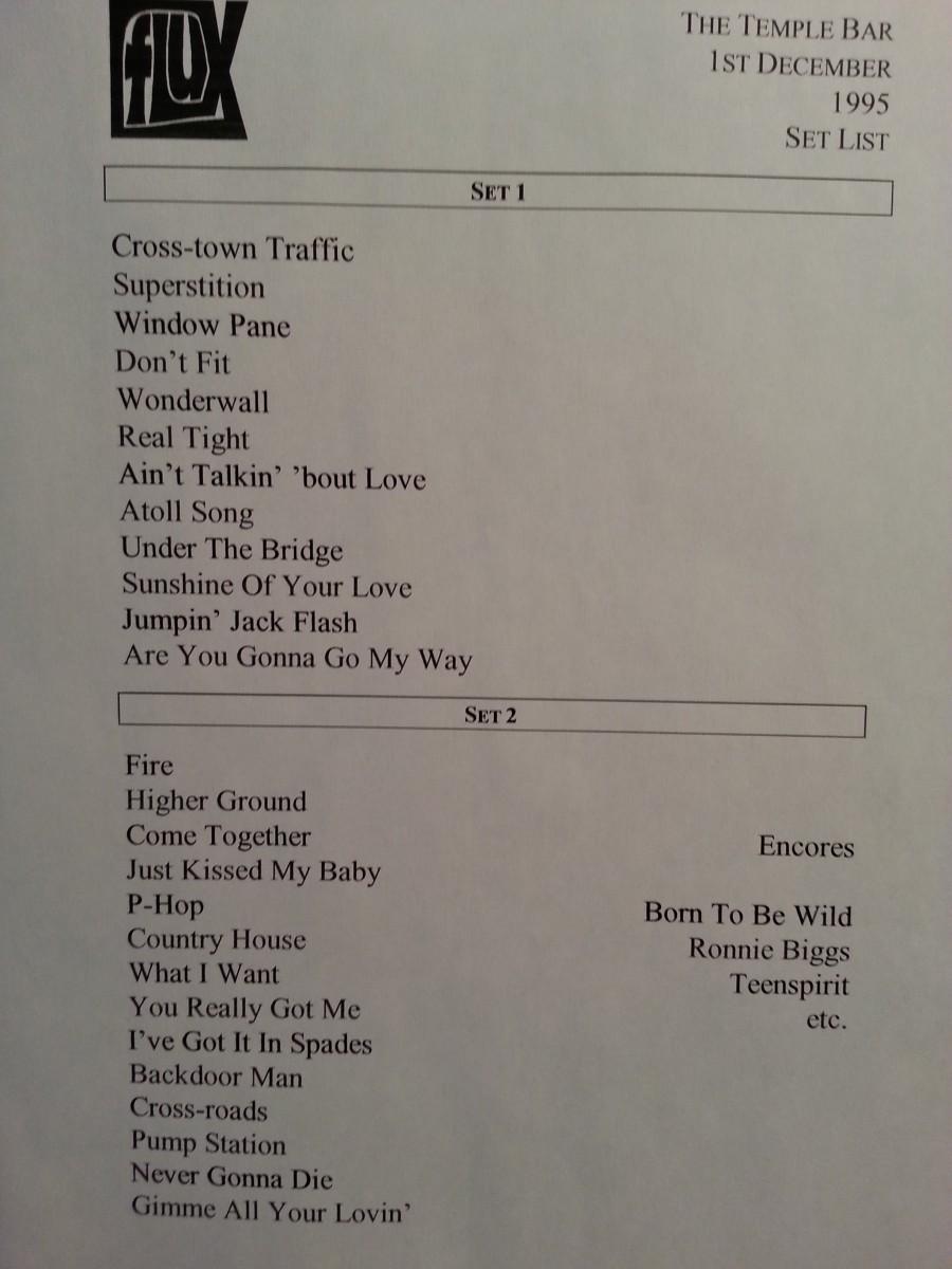 Flux Setlist for gig at temple bar