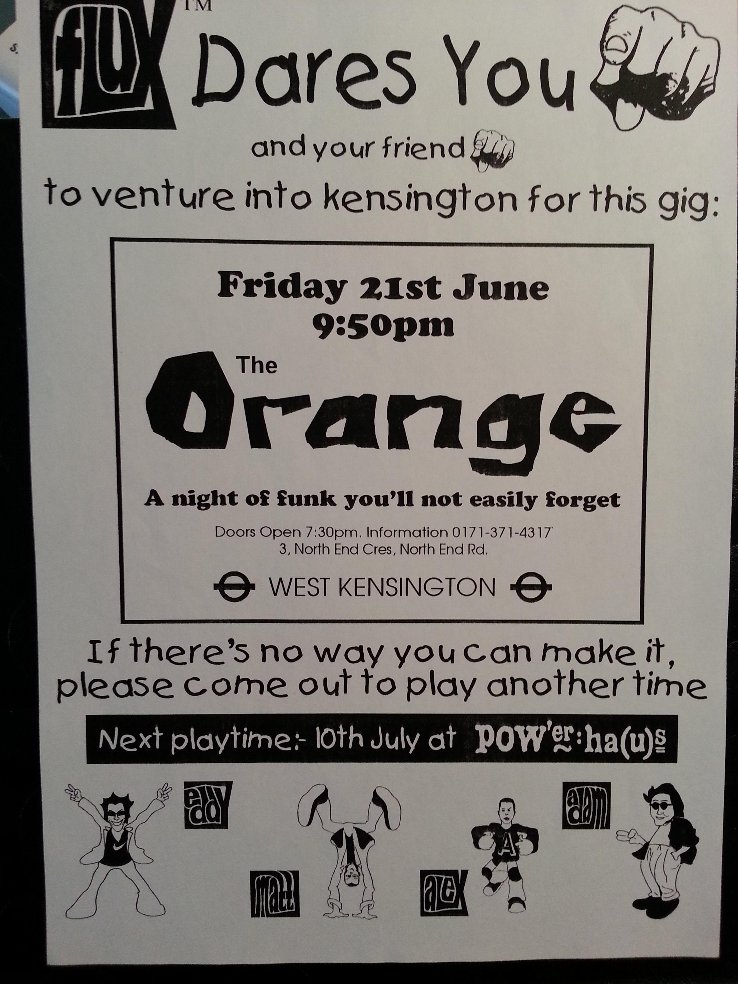 FLUX - Gig at The Orange (W14), London - June 1997