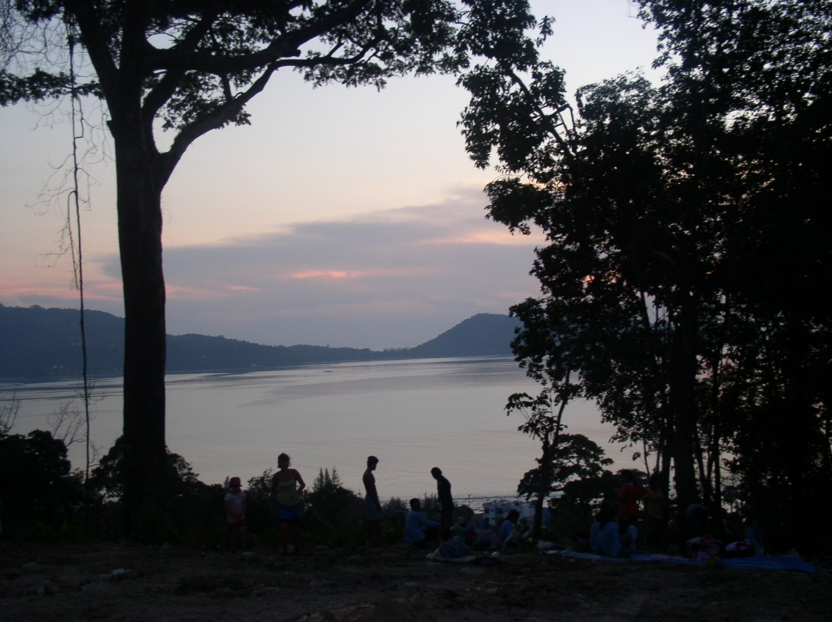 The night after the Tsunami - we stayed up the hillside on a building site