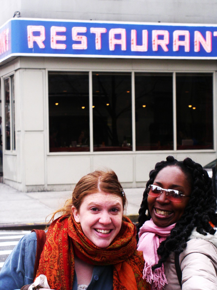 Virginia and Wendy in front of the Seinfeld Restaurant, New York, 2004