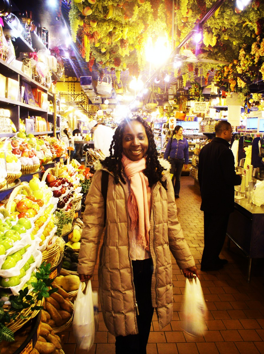 Wendy in the best ever supermarket, NYC 2004