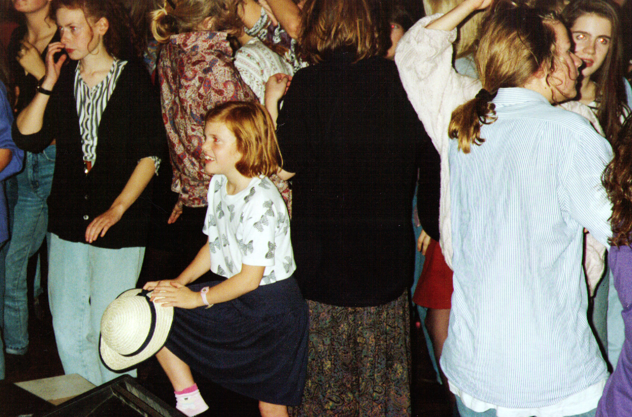 Virginia Shearer, transfixed - at the Paracetamols gig at Felixstowe