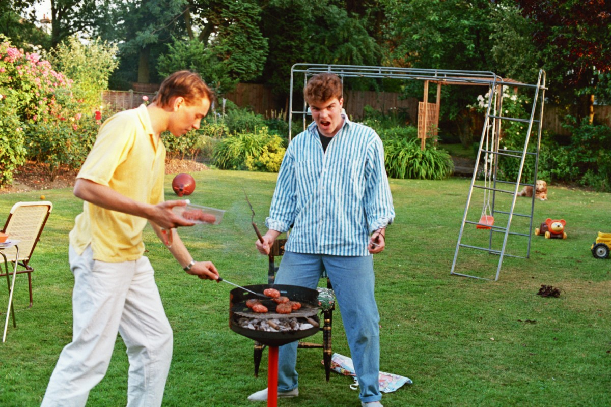 Alan and Russel do the BBQ - 1980s in Woodford