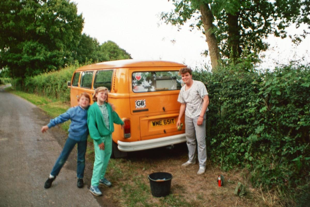 Washing the orange van at Amberslone