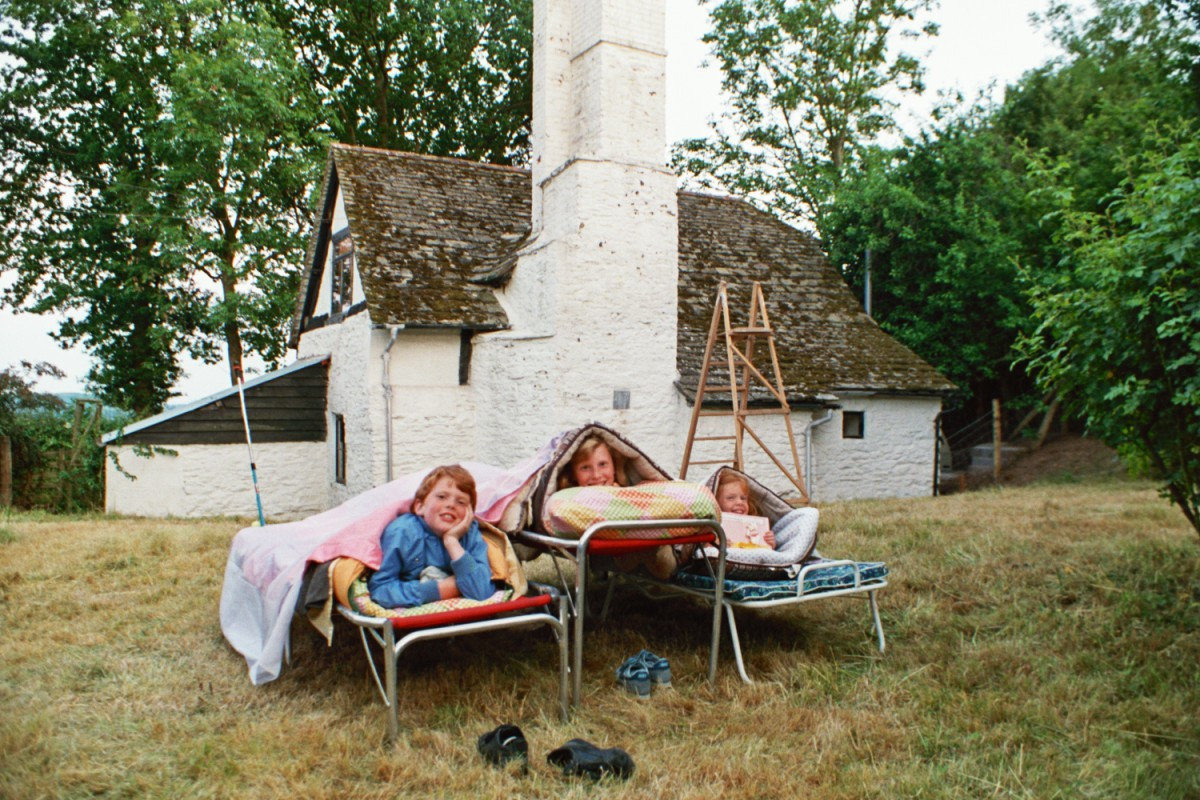 The Shearers camping in the garden - at Amberslone, Wales