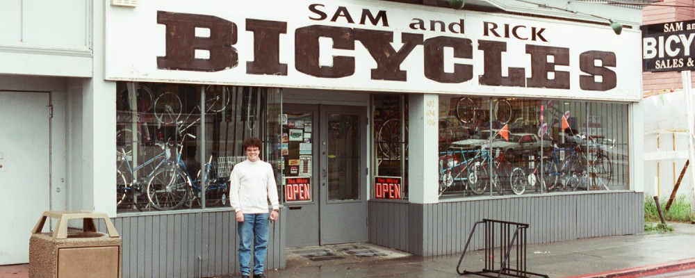 Russel Shearer outside Sam and Rick Bicycles in Oakland California
