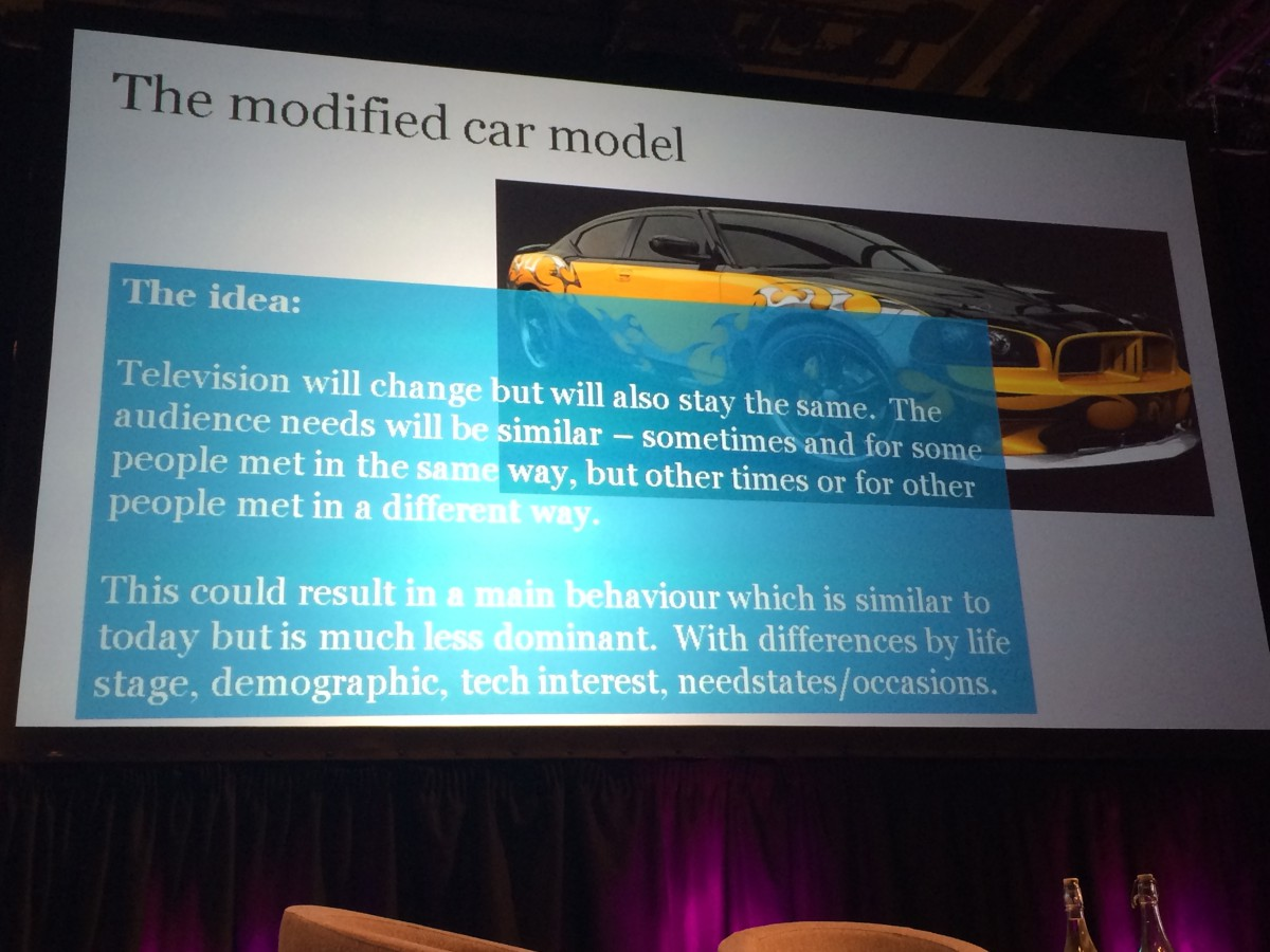 "BBC Audiences - the ""Modified Car"" Model - a mixture of radical and BAU outcomes for the future of Television"