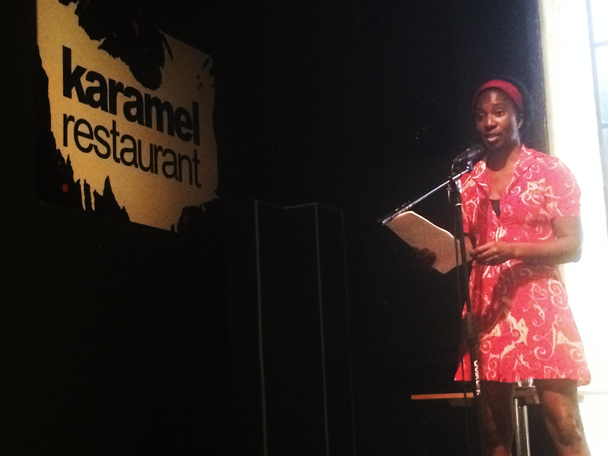 Wendy Shearer at Karamel - reading MIDSUMMER MAYHEM IN NEW YORK