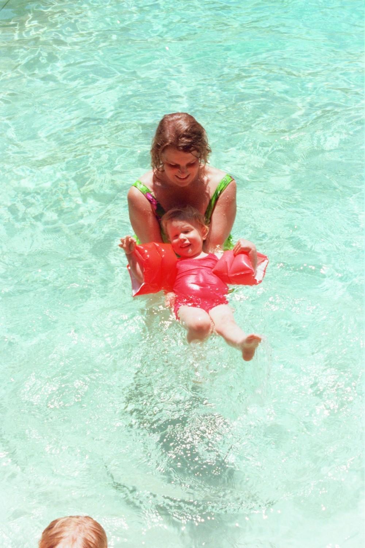 Lori & Amy swim in the pool at Huntingdon Hills