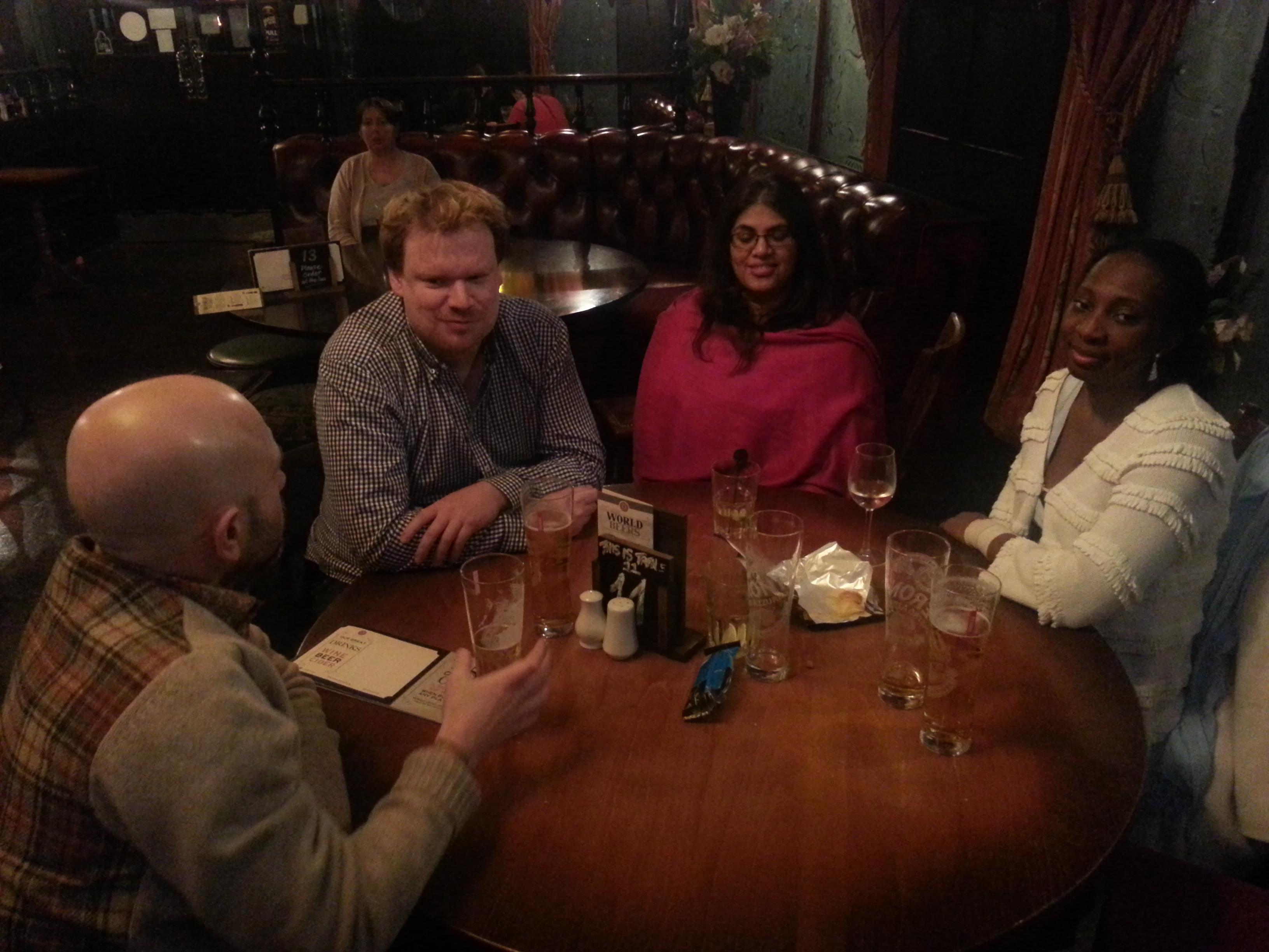 At the pub afterwards - Ian, Jim, Asha and Wendy