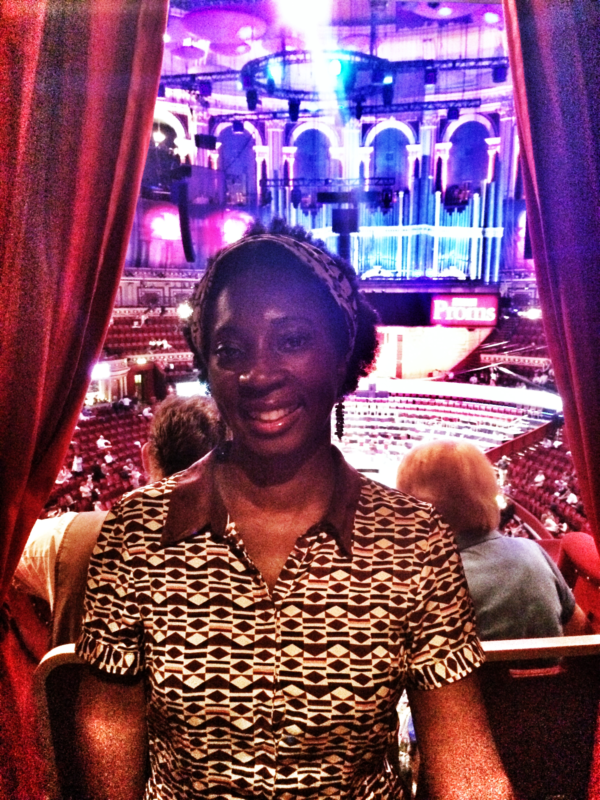 Wendy Shearer in a box at The Royal Albert Hall