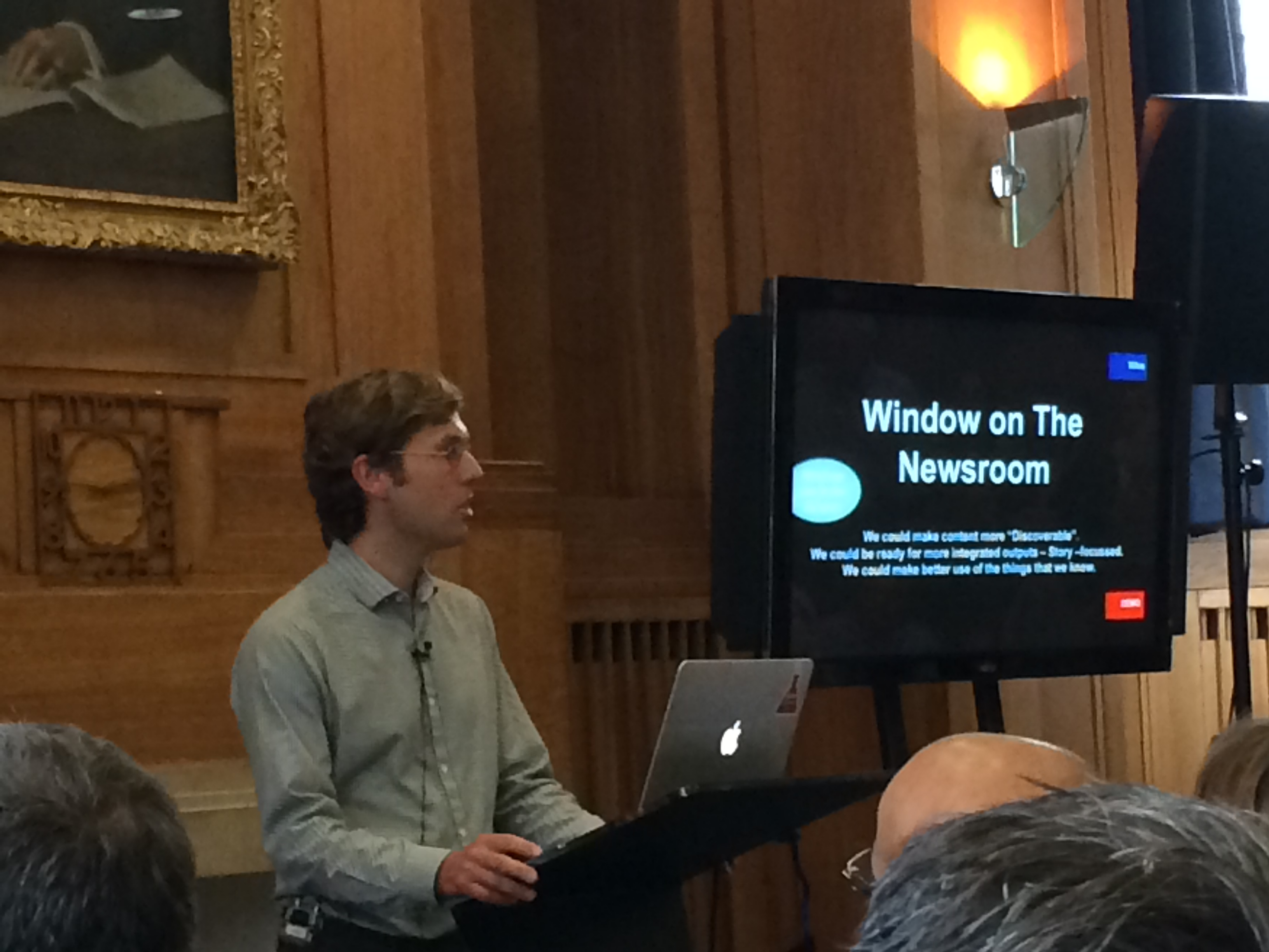"Miles Bernie talks about BBC News Labs' ""Window on the Newsroom"" (WON)"