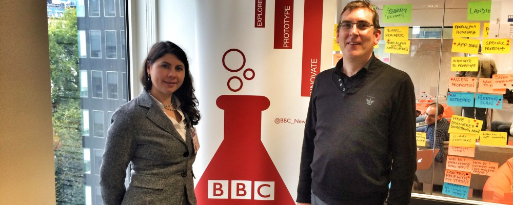 Neil and Georgiana from University College Dublin visit the Lab to demonstrate Insight4News