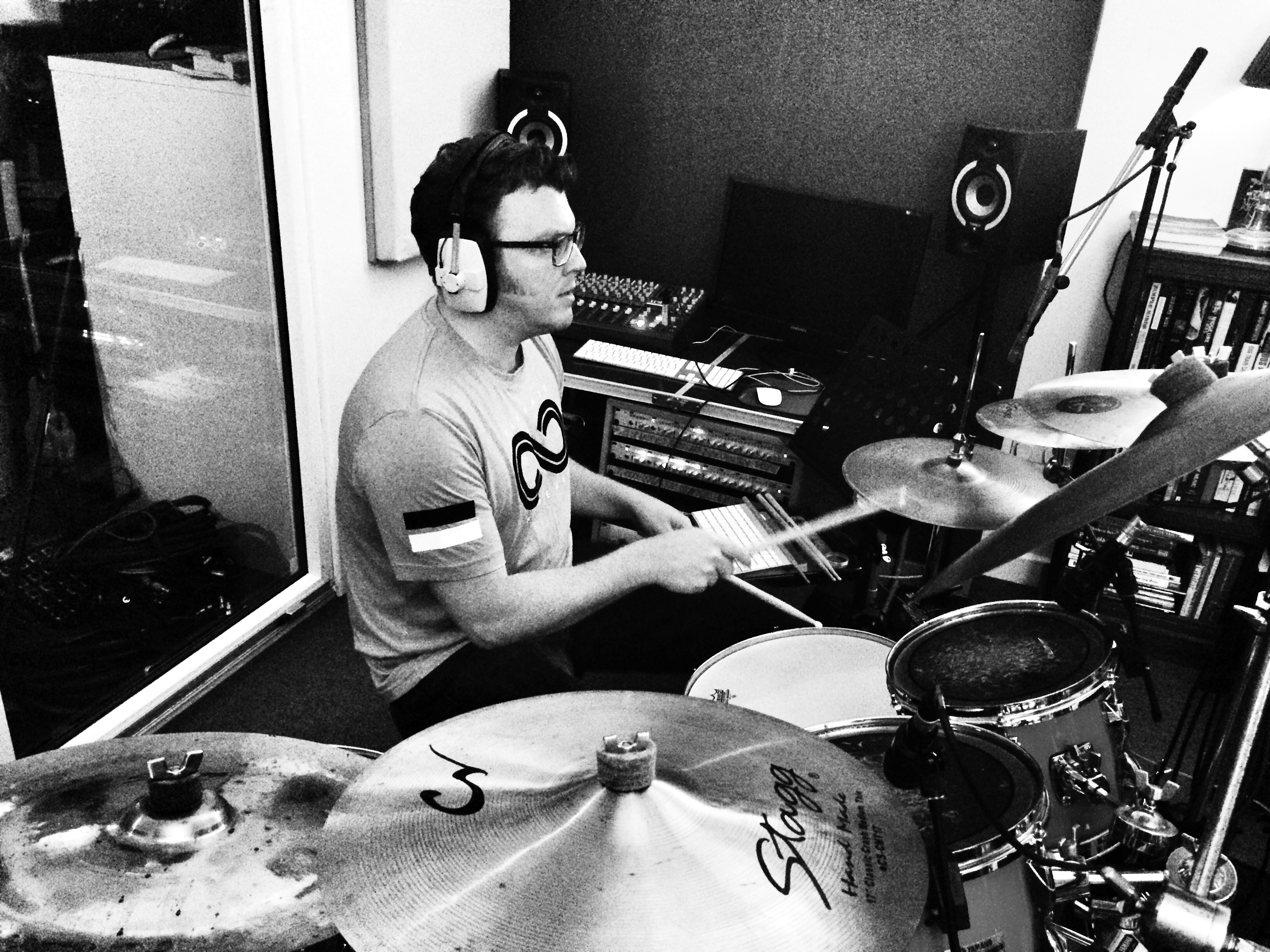 Matt Shearer drumming at NJA Audio Productions