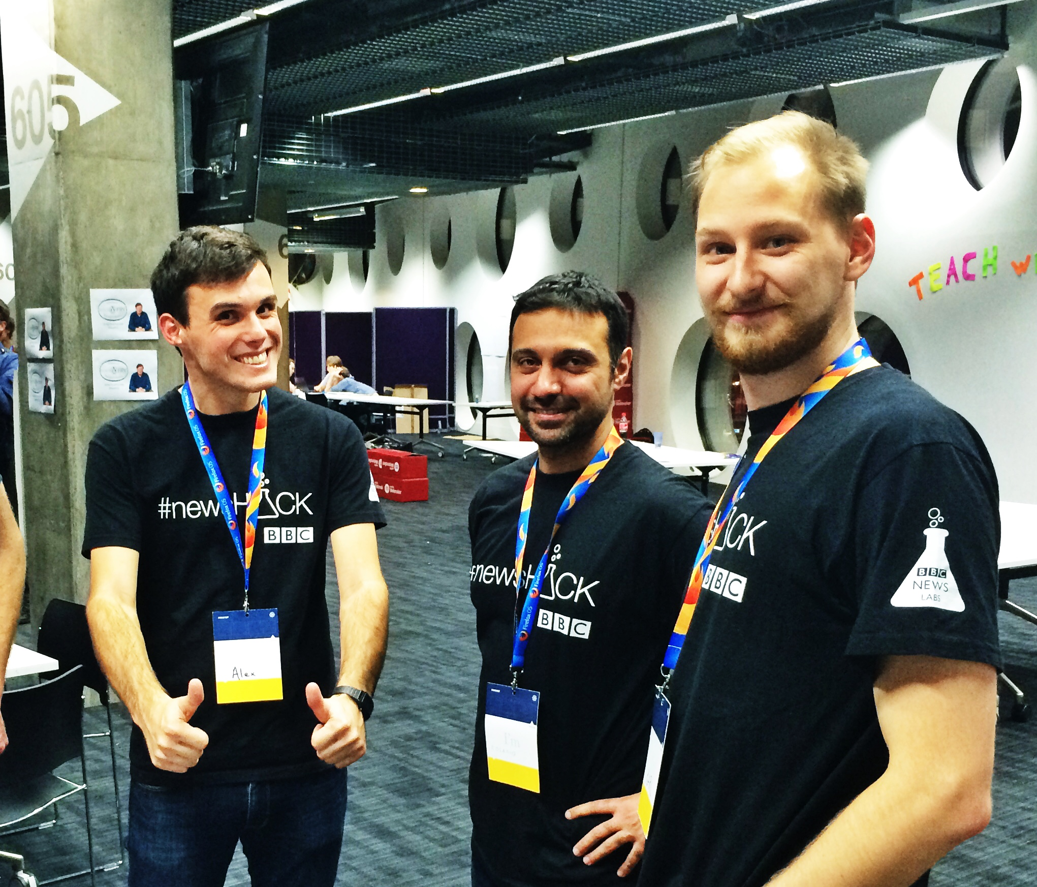 Alex Norton, Rosario Rascuna and Karl Sutt at Mozfest 2014 Science Fair with BBC News Labs
