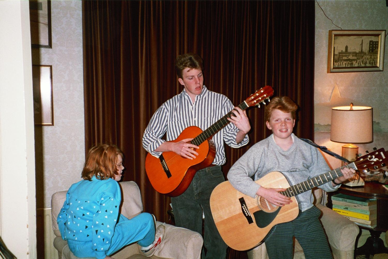 Ed Shearer & Matt Shearer on Guitars in 1990 in Woodford, London