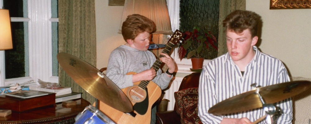 Ed Shearer on Guitar and Matt Shearer on Drums in 1990 in Woodford, London