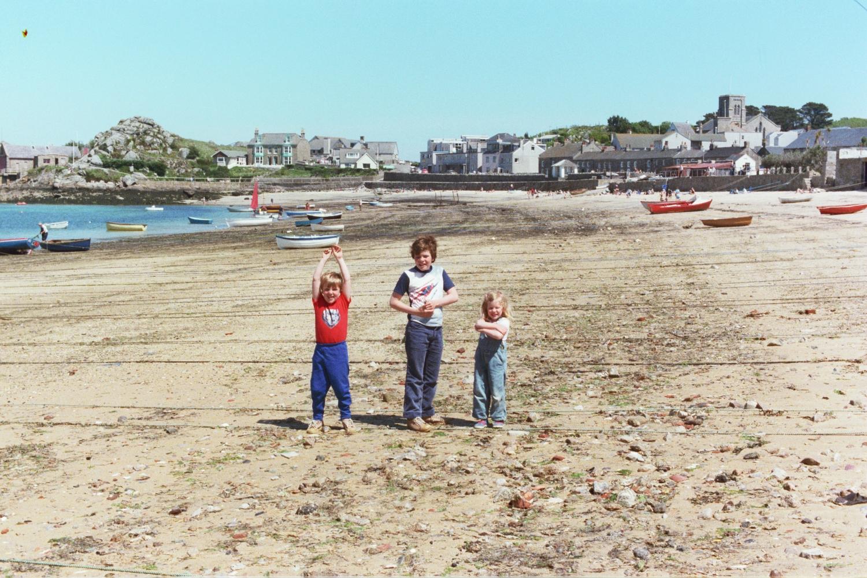 Amy Shearer, Matt Shearer and Russel Shearer on the Beach in 1979