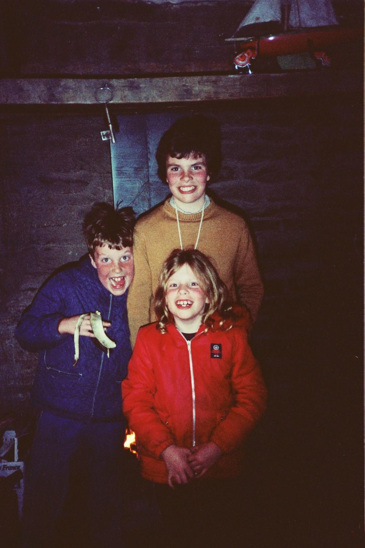 Matt Shearer, Russel Shearer and Amy Shearer at Amberslone Cottage, Spring 1982