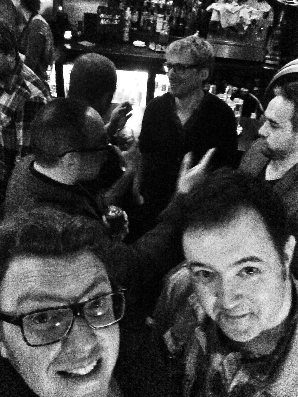 Niall Acott and Matt Shearer - selfie, with David Walter in the background, plus Dan McCabe, Tarkan Algin, Dean Gardner
