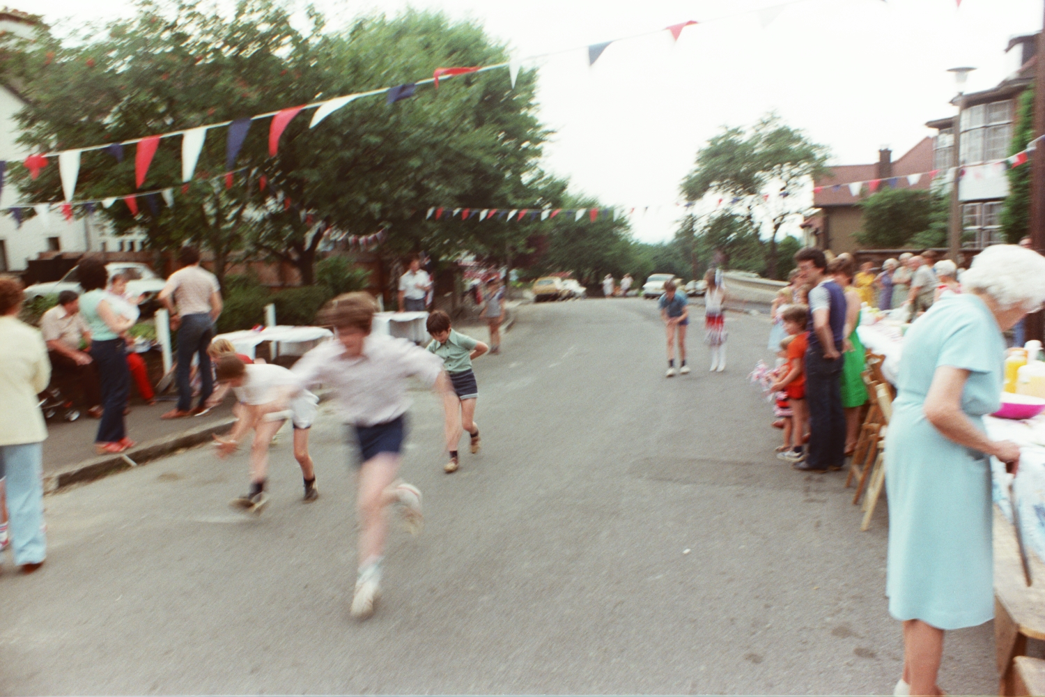 Races at 1981 Woodside Road Street Party for Charles & Dianna's Royal Wedding