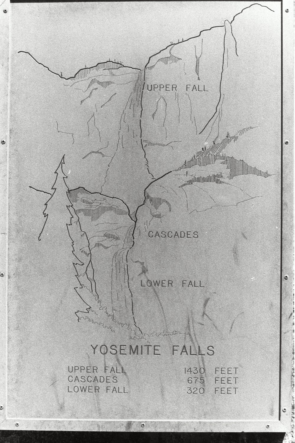 Map in Yosemite, in the late 1970s. California USA