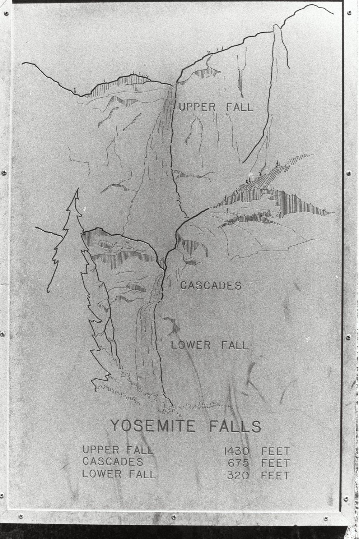 Map in Yosemite, in the late 1970s. California USA