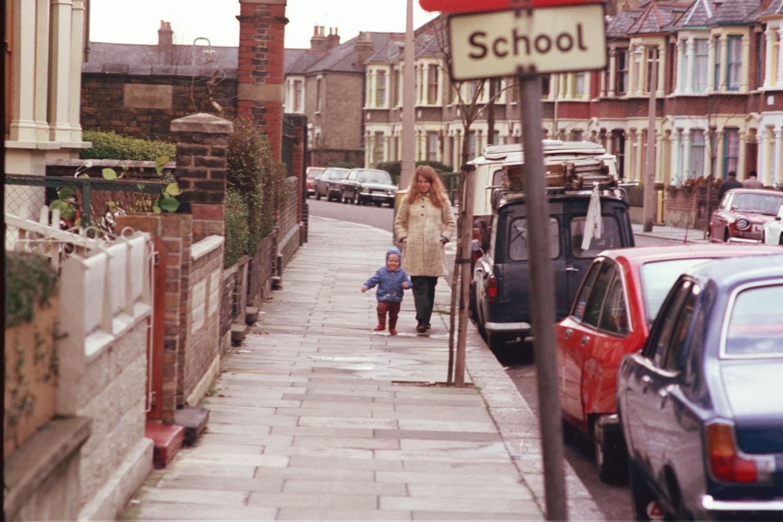Lori Shearer, Matt Shearer, Russel Shearer, in Leyton, London, in 1970s