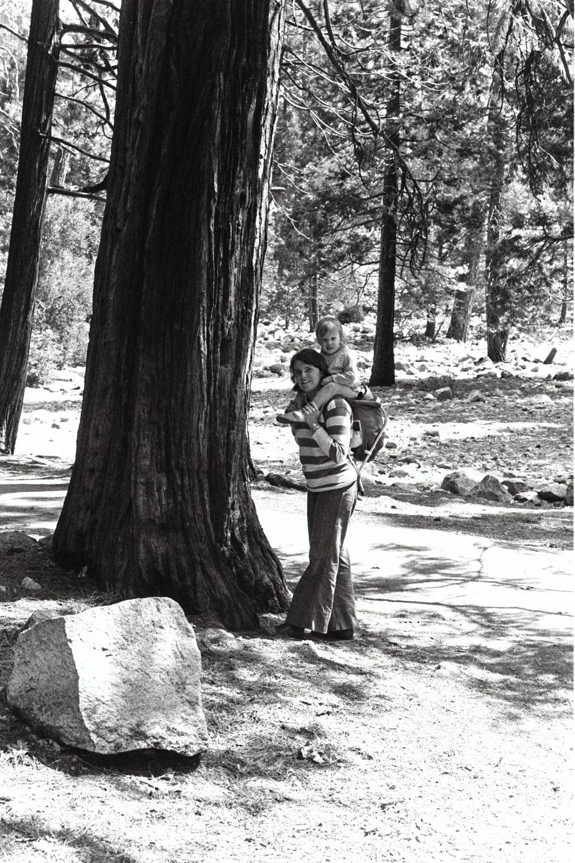Lori Shearer and Amy Shearer in Yosemite, in the late 1970s. California USA