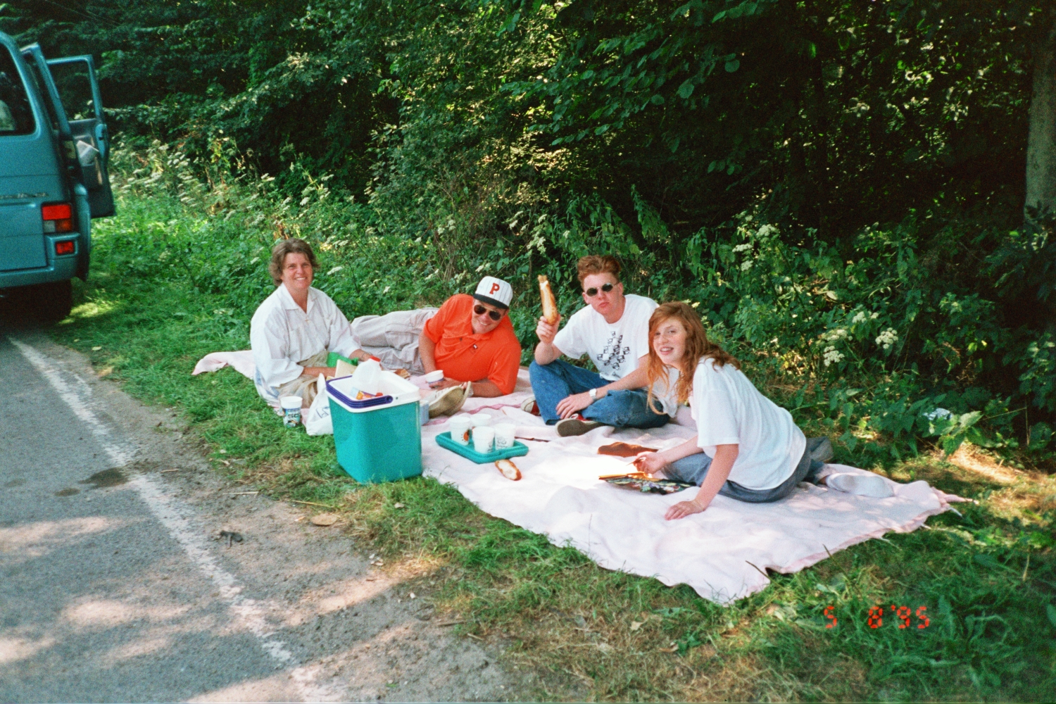 Shearer Picnic in Austria, next to the Blue VW Bus