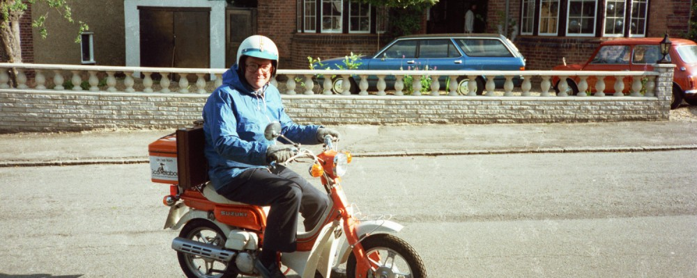 Fred Shearer on a Scooter in the 1980s