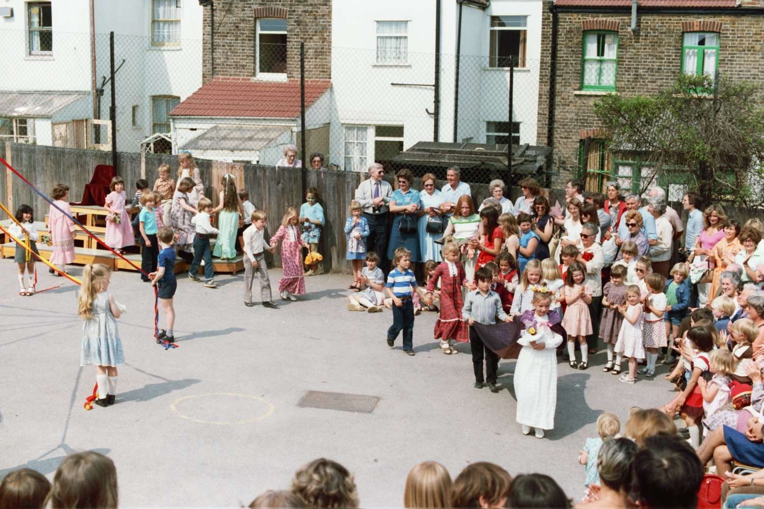 Maypole Dancing at Wells Primary School in Woodford Green, Essex