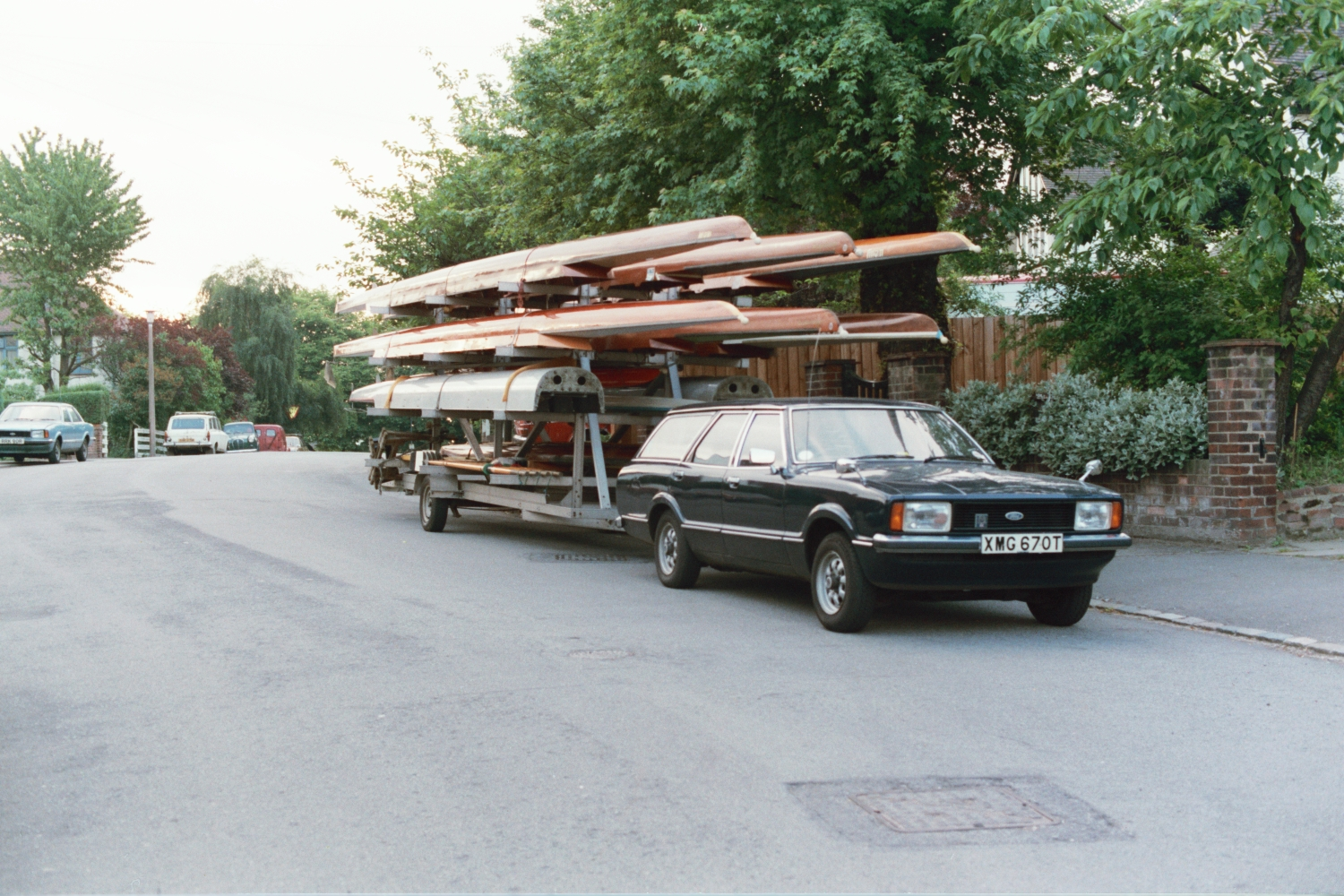 Fred Shearer's Ford Cortina estate, and the Lea Rowing Club boat trailer